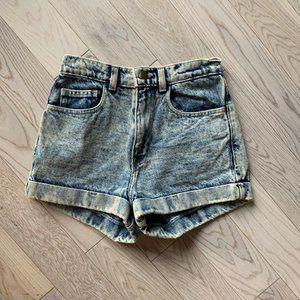 Blue Acid Wash High-Waisted Shorts